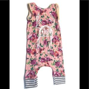RAGS TO RACHES Trinny Monster Floral Romper 2T